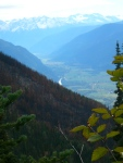 Fall hiking, -a view of the Pemberton Meadows with the summer fires in foreground