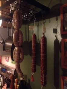 Salami and Ginger Apple sausages hanging, Also made Chorizo to dry cure.